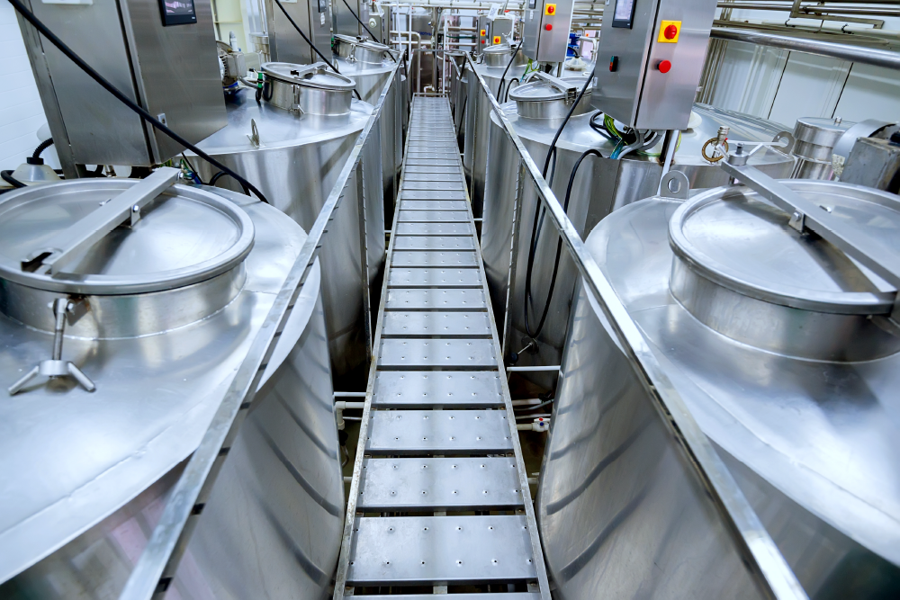 Food industry walkway and tanks